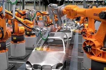 Robots Industriales colaborativos que están compuestos por brazos robóticos mecánicos